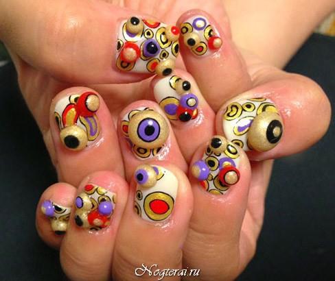 Дизайн ногтей выпуклый