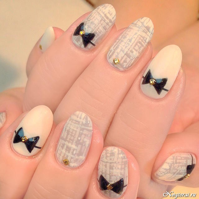 Бантики на ногтях маникюр фото