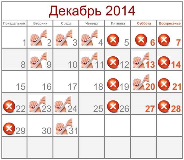 Лунный календарь маникюра на декабрь 2014