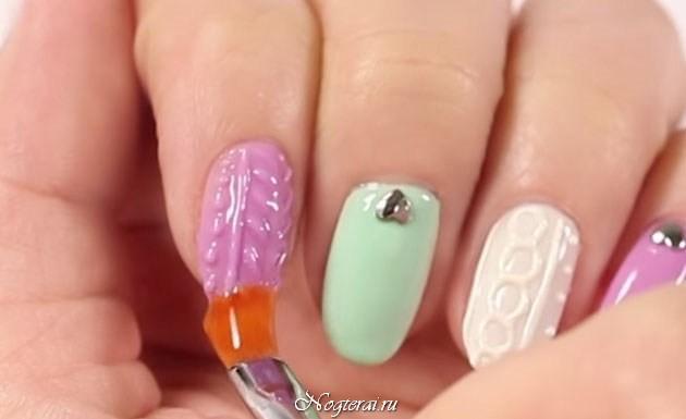 Дизайн ногтей вязаный фото