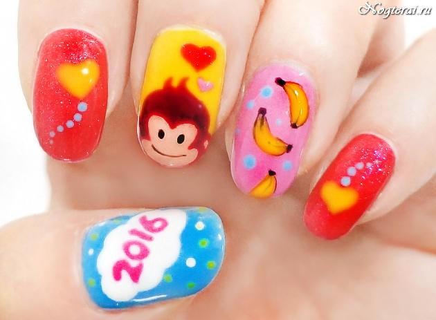 нарисованная обезьяна на ногтях
